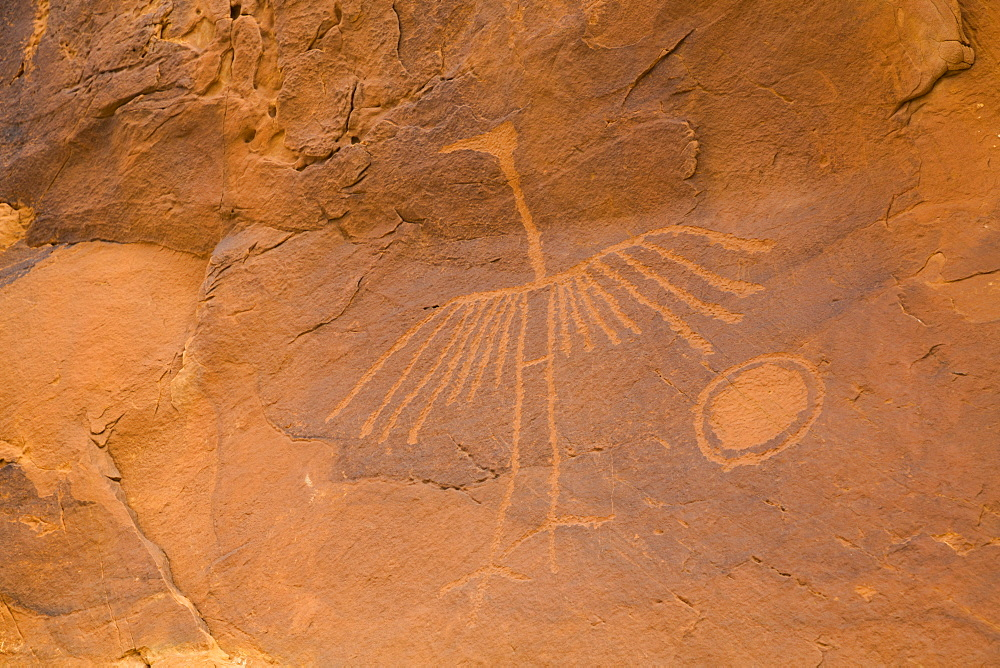 Big Crane Pictograph, made by Ancestral Puebloans, approximately 900-1000 years old, Bear's Ears National Monument, Utah, United States of America, North America