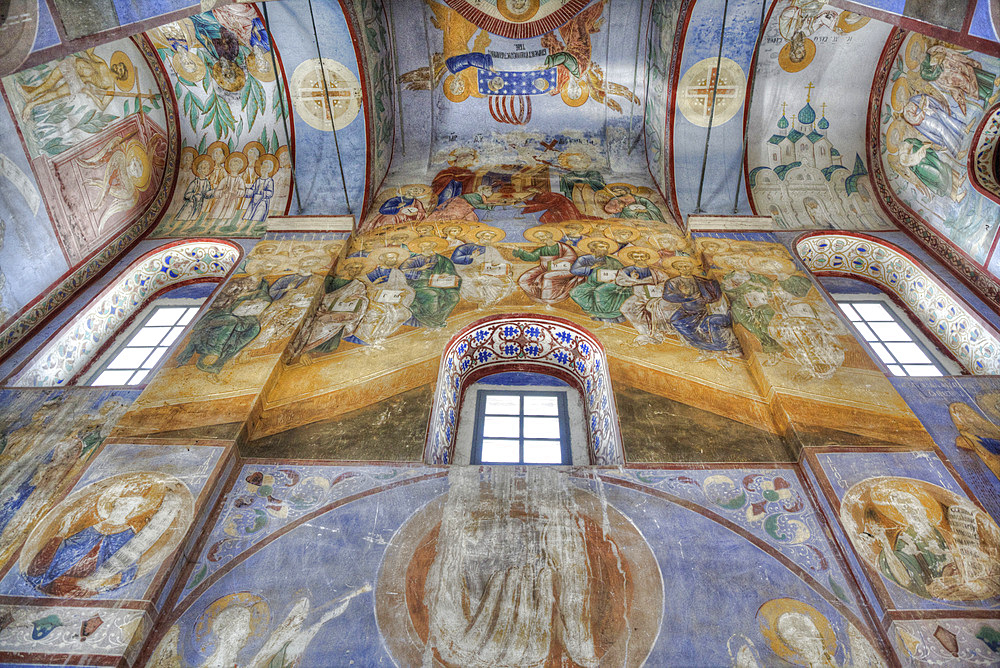 Frescoes, Church of the Nativity of the Virgin dating from 1158, UNESCO World Heritage Site, north of Vladimir, Russia, Europe