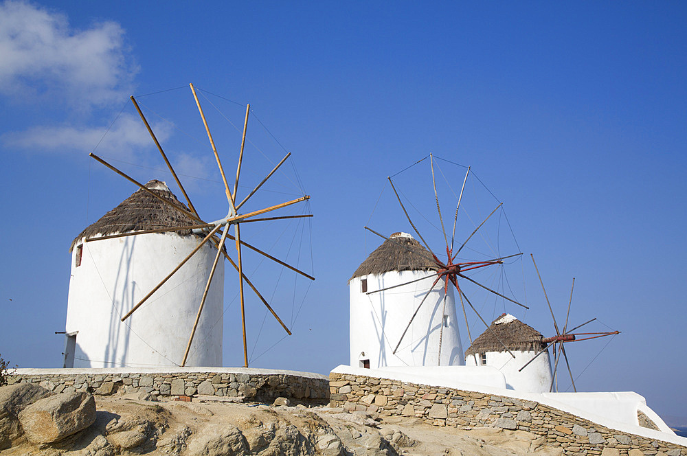 Windmills, Mykonos Town, Mykonos Island, Cyclades Group, Greek Islands, Greece, Europe