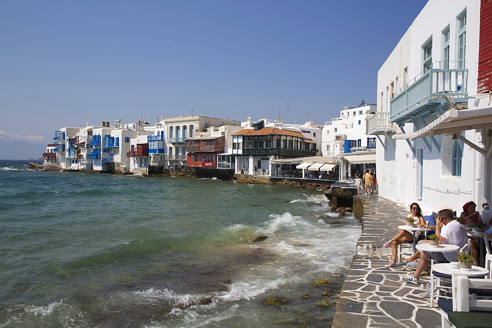 Little Venice, Mykonos Town, Mykonos Island, Cyclades Group, Greek Islands, Greece, Europe