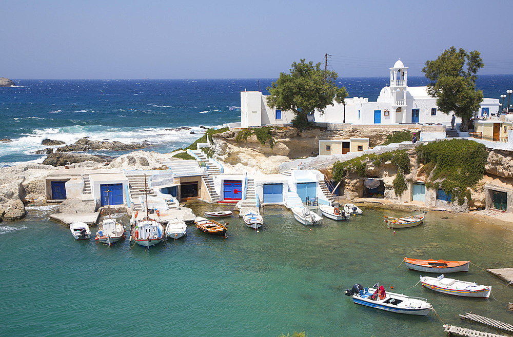 Harbor, Mandrakia Village, Milos Island, Cyclades Group, Greek Islands, Greece, Europe