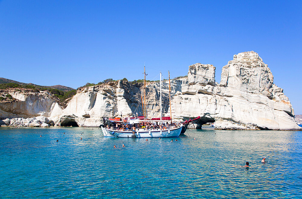Tour Boats, Kleftiko Bay, Milos Island, Cyclades Group, Greece
