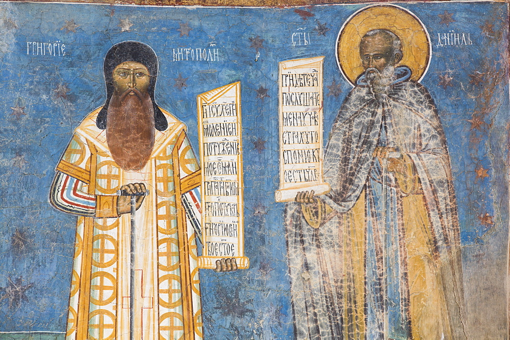 Fresco of Mitropoli and St. Daniel, Voronet Monastery, 1487, UNESCO World Heritage Site, Gura Humorului, Suceava County, Romania, Europe