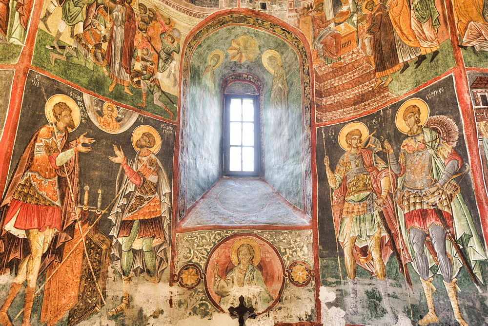 Interior Frescoes, Church of the Holy Cross, 1487, UNESCO World Heritage Site, Patrauti, Suceava County, Romania, Europe