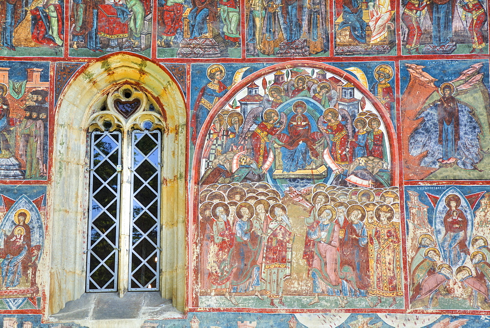 External Frescoes, Humor Monastery, 1530, UNESCO World Heritage Site, Manastirea Humorului, Suceava County, Romania, Europe