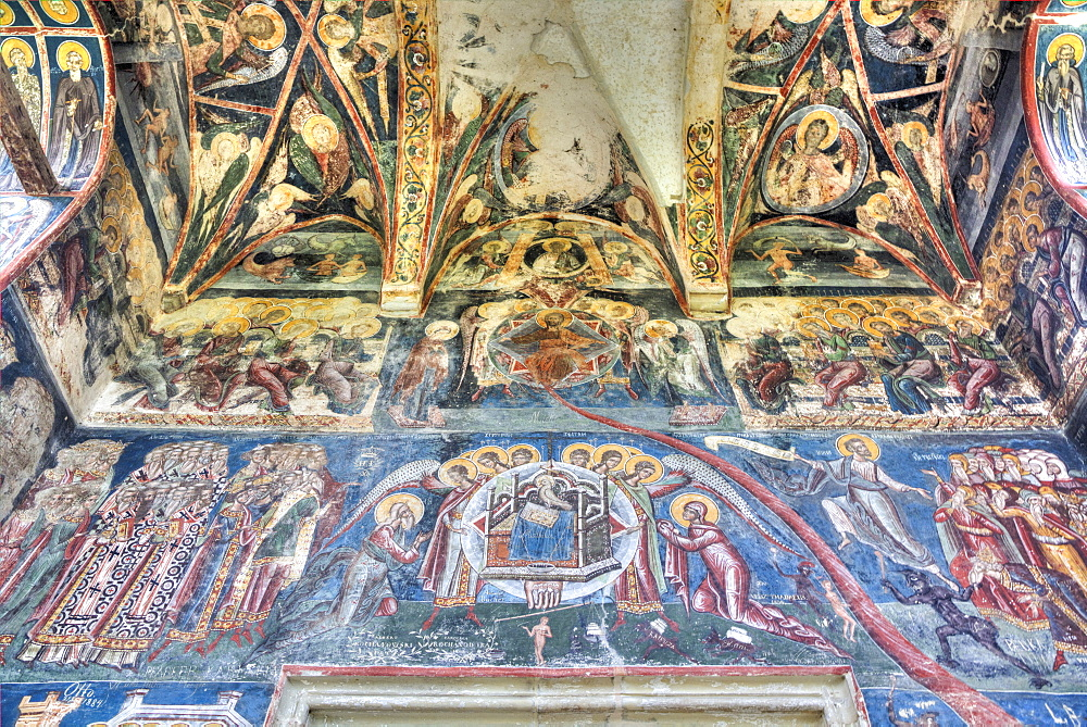 Interior Frescoes, Moldovita Monastery, 1532, UNESCO World Heritage Site, Vatra Moldovitei, Suceava County, Romania, Europe