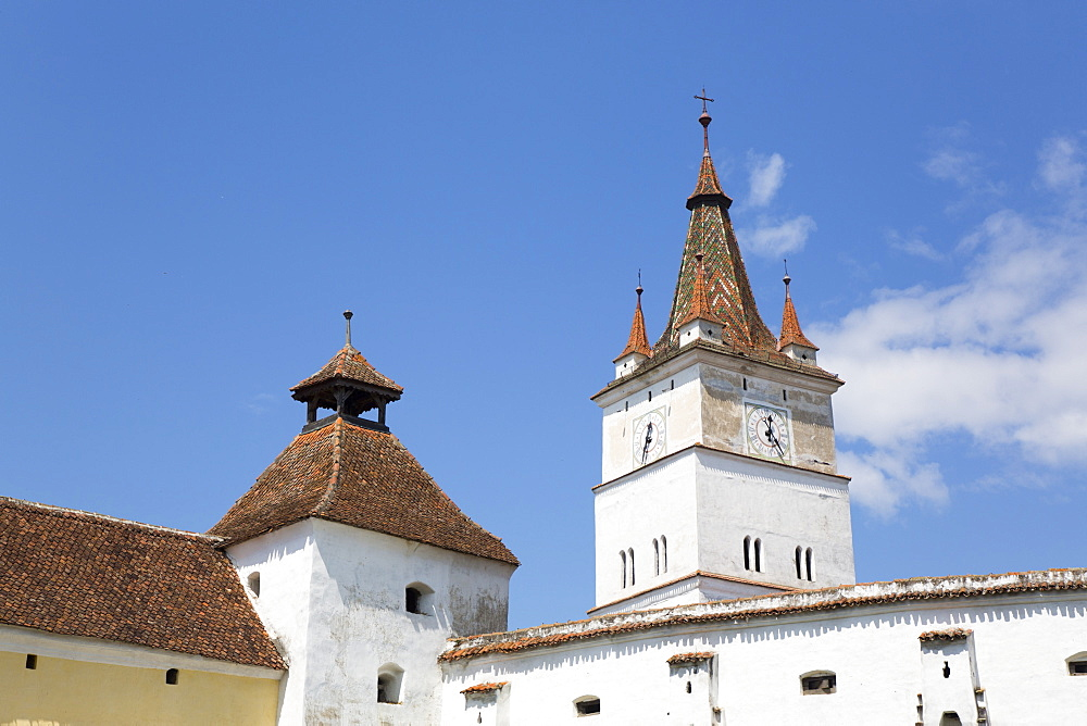 Clock Tower, Harman Fortified Church, 13th century, Harman, Brasov County, Romania, Europe