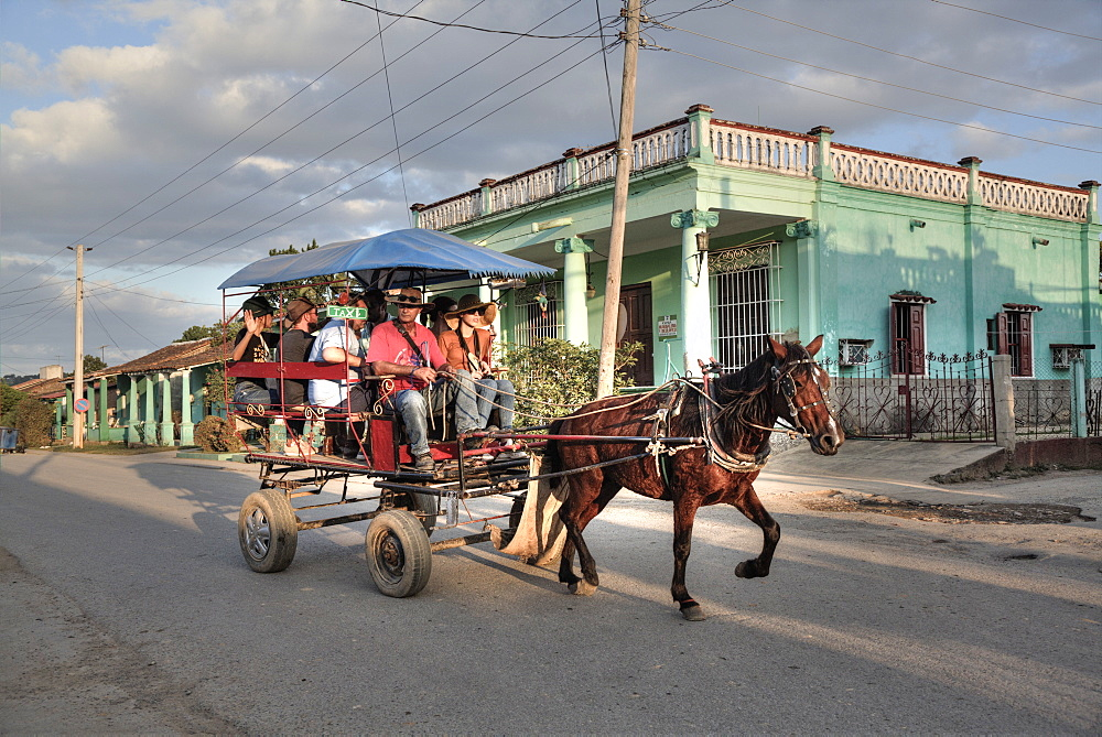 Horse Carriage Taxi, Vinales, Cuba, West Indies, Caribbean, Central America - 801-2771