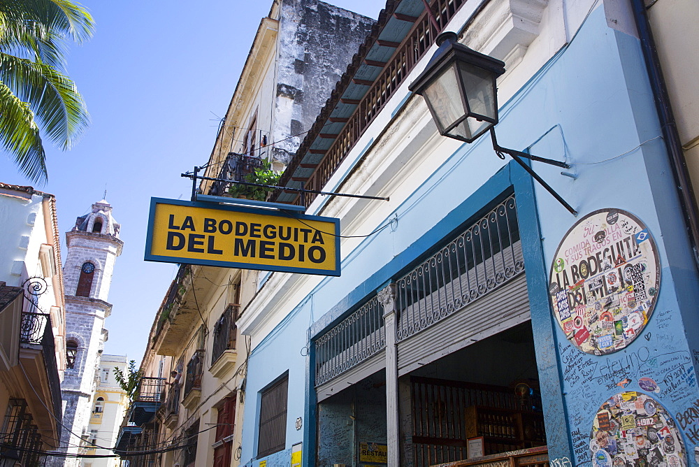 Sign, La Bodeguita del Medio Restuarant and Bar, Old Town, UNESCO World Heritage Site, Havana, Cuba, West Indies, Caribbean, Central America