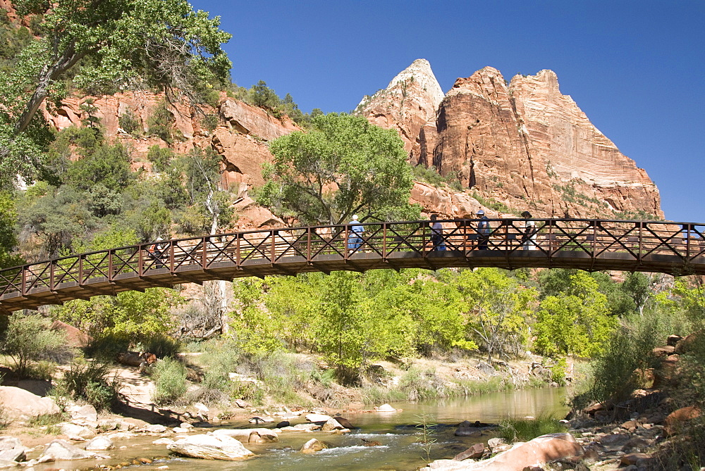 The Virgin River, foot bridge to access the Emerald Pools, Zion National Park, Utah, United States of America, North America