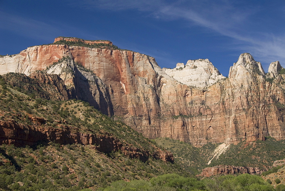 West Temple, 7810 feet on left, and Sundial Tower, 7590 feet center rear, Zion National Park, Utah, United States of America, North America