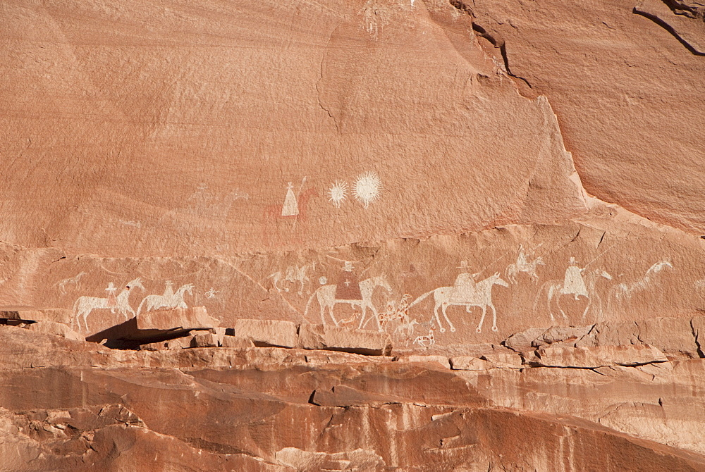 Canyon de Chelly National Monument, 200 year old rock paintings of the Spanish , Arizona, United States of America, North America