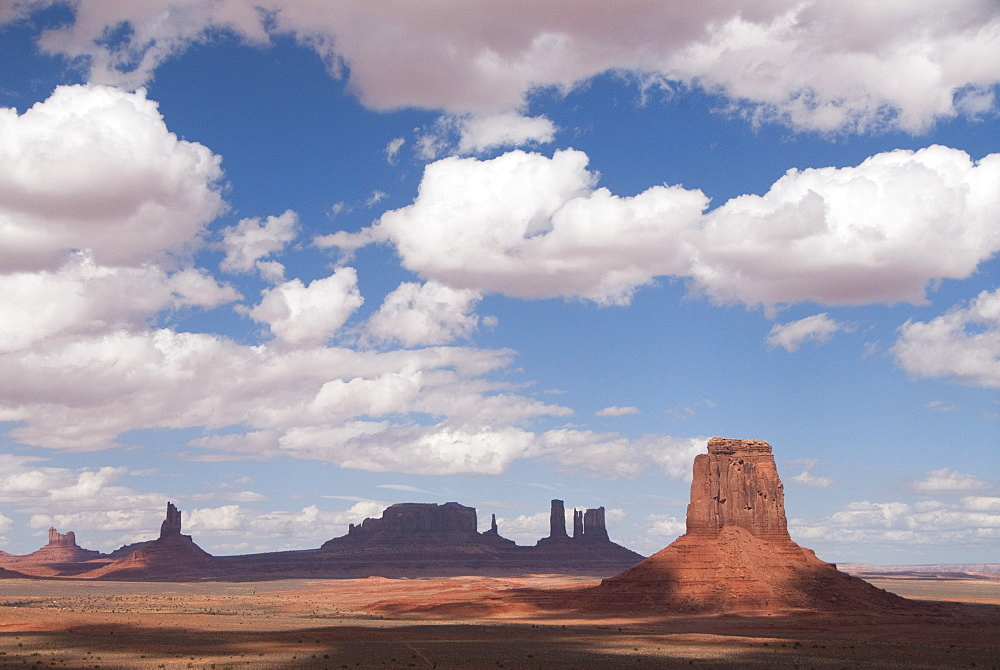 Monument Valley Navajo Tribal Park, view from Artist Point, Merrick Butte (foreground), Utah, United States of America, North America