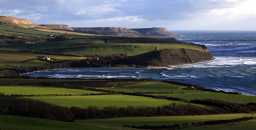 Looking east across Kimmeridge Bay towards St. Aldhelm's Head, Isle of Purbeck, Jurassic Coast, UNESCO World Heritage Site, Dorset, England, United Kingdom, Europe