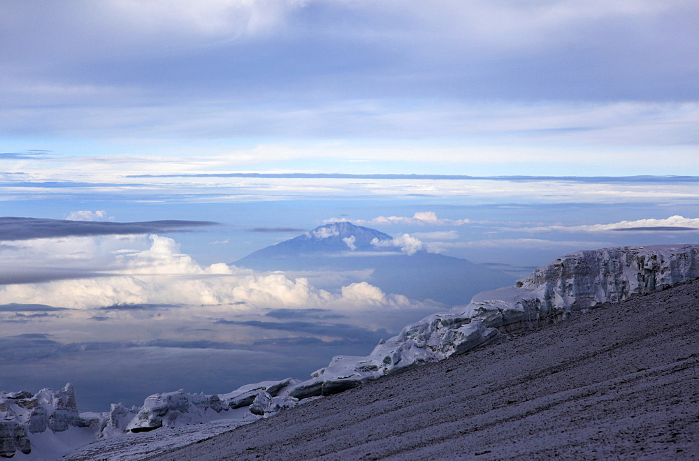 Looking towards Mount Meru from near the summit of Mount Kilimanjaro, Tanzania, East Africa, Africa