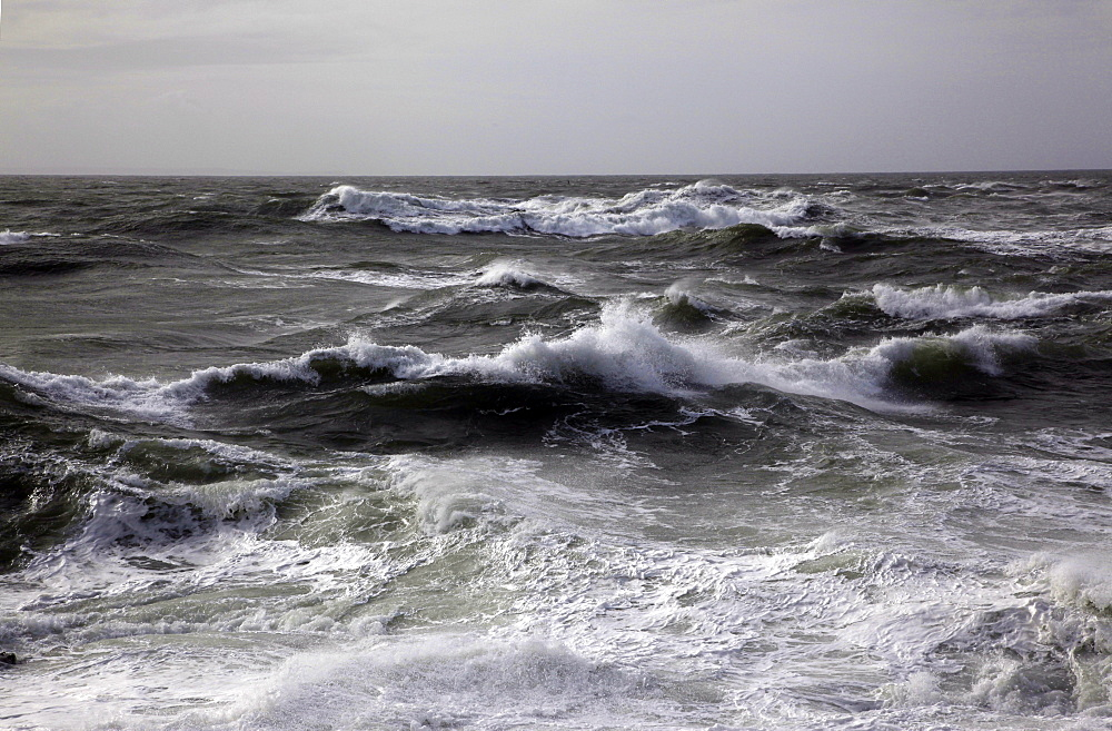 Wild winter seas off Mort Point, Devon, England, United Kingdom, Europe