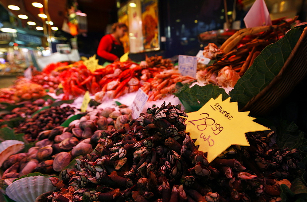 Shellfish on sale on a fish stall in the market in central Barcelona, Catalonia, Spain, Europe