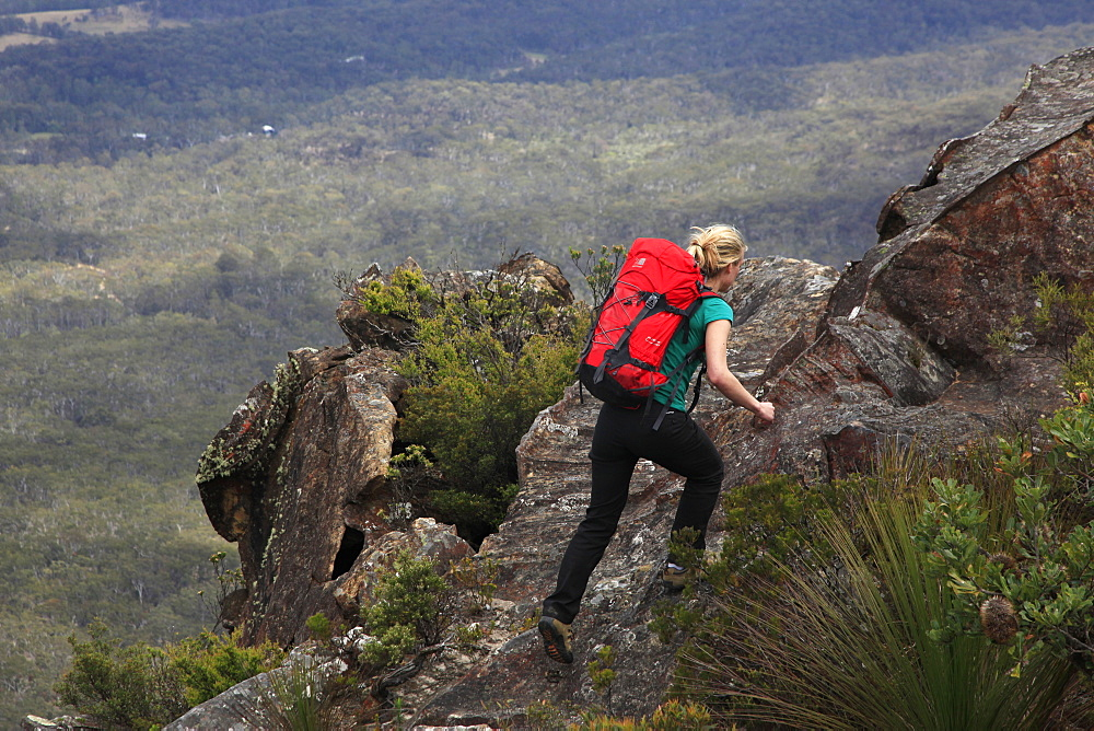 A woman walking near Three Peaks, Katoomba, Blue Mountains, New South Wales, Australia, Pacific