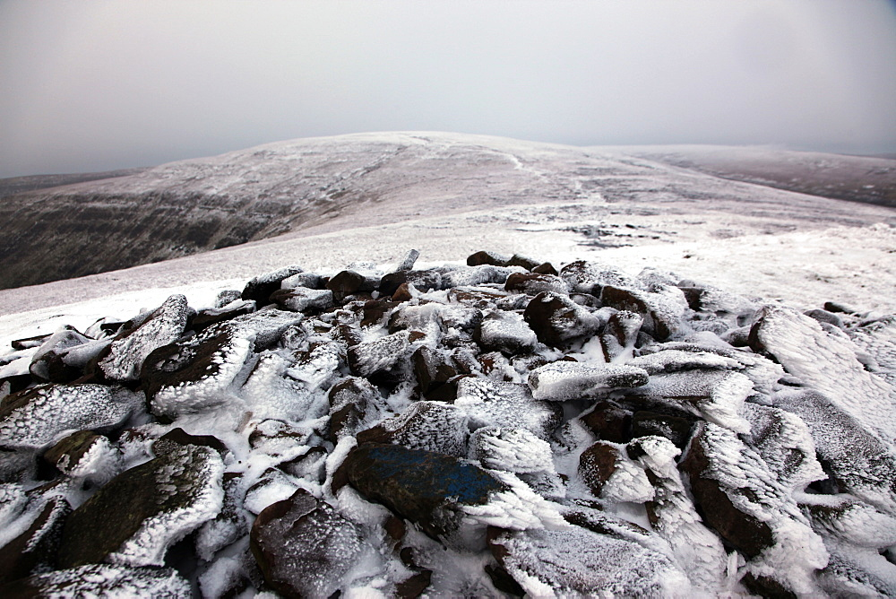 The summit of Waun Fach under snow, the highest peak in the Black Mountains, Brecon Beacons National Park, South Wales, United Kingdom, Europe