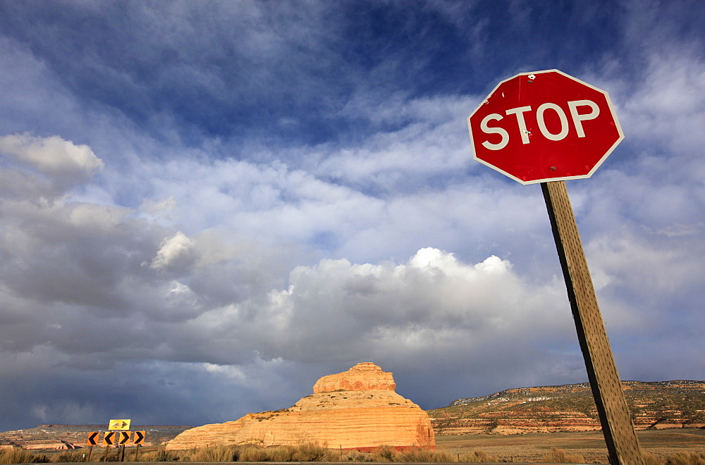 Road sign in the Utah Desert, Canyonlands National Park, Utah, United States of America, North America