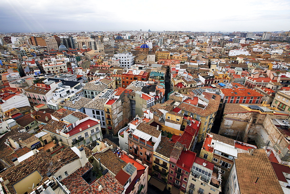Central Valencia from the tower of the Metropolitan Cathedral Basilica of the Assumption of Our Lady of Valencia, Valencia, Spain, Europe  - 802-271