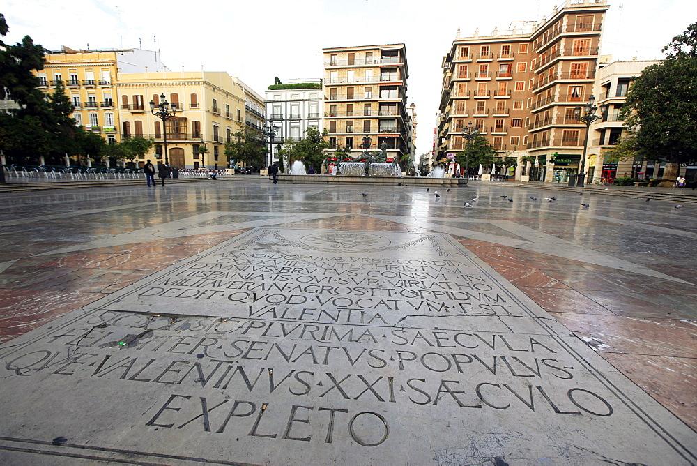 Inscribed stone in a square in Central Valencia, Valencia, Spain, Europe