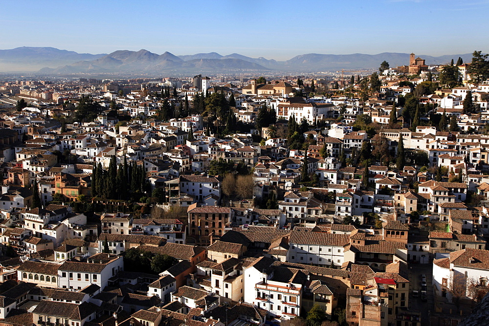 Looking across the rooftops of Granada, Andalusia, Spain, Europe  - 802-275
