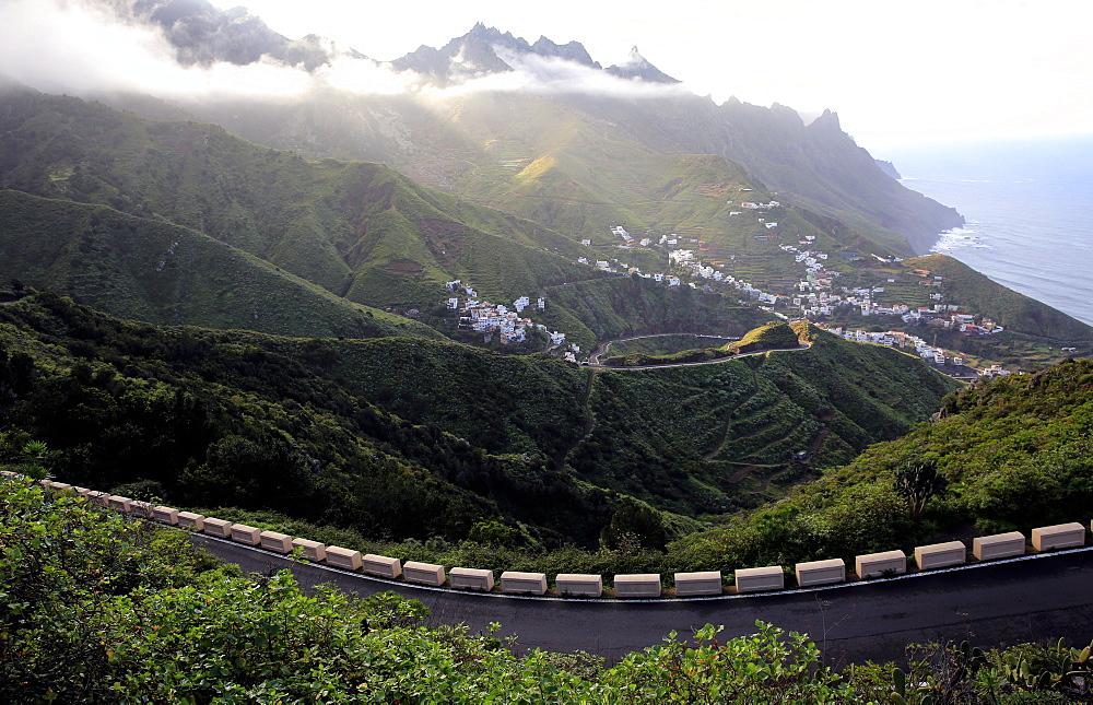 Looking down to the coastal town Taganana, Anaga Peninsula, Northern Tenerife, Spain, Europe - 802-302