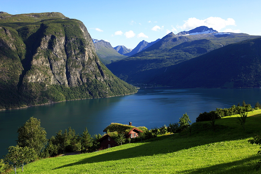 A house above the fjord at Valldal, Norway, Scandinavia, Europe - 802-309