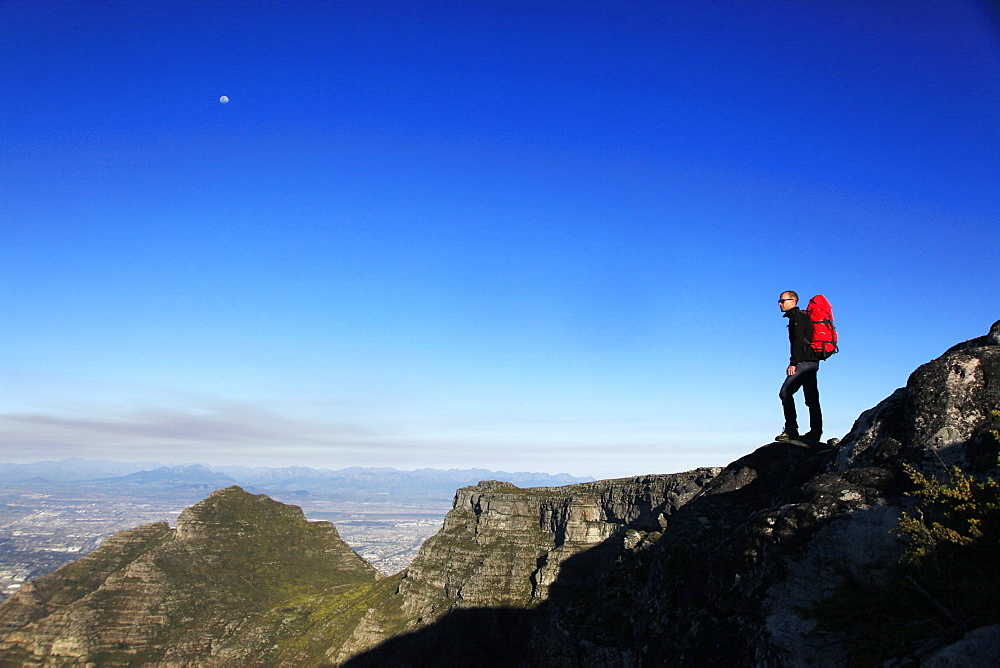 A hiker on Table Mountain, Cape Town, South Africa, Africa