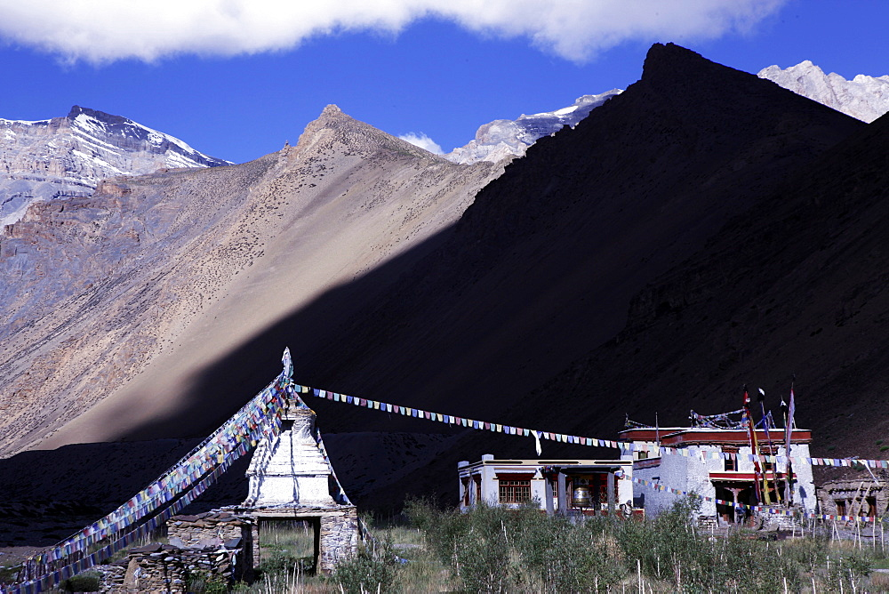 A remote gompa in the high country of southeast Ladakh, Himalayas, India, Asia