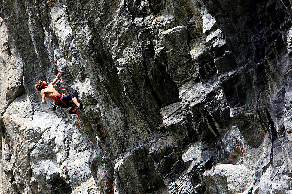 Rock climber in action, Flatanger, Norway, Scandinavia, Europe