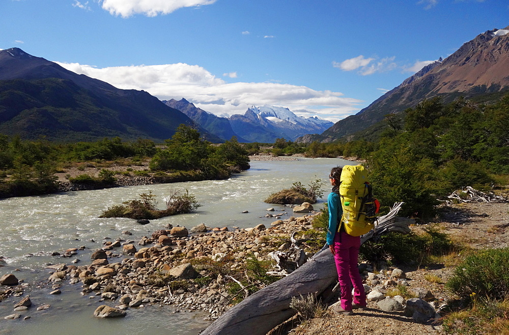 A hiker in the backcountry near El Chalten, Argentine Patagonia, Argentina, South America