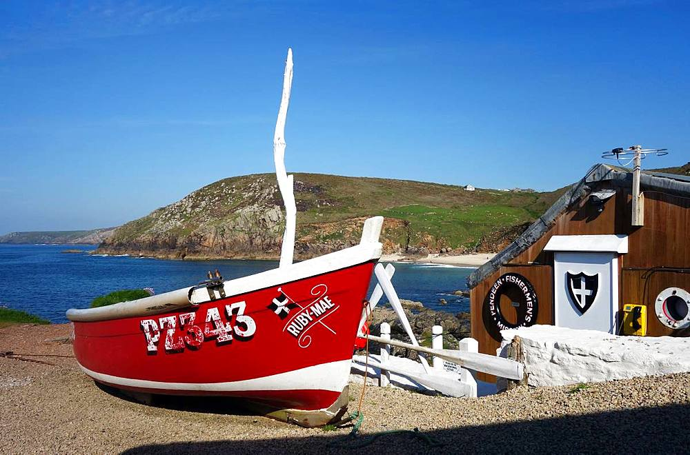 Fishing boats on the slipway at Boat Cove, West Penwith, Cornwall, England, United Kingdom, Europe - 802-491