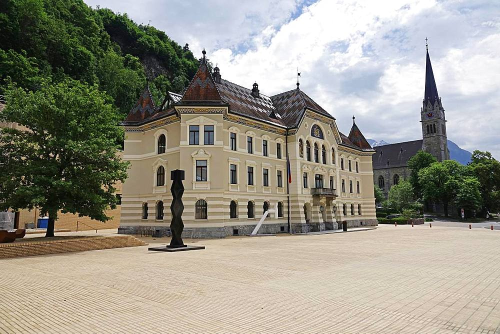 Parliament Building in central Vaduz, Liechtenstein, Europe