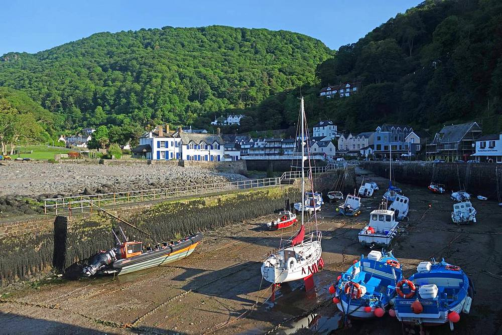Boats at low tide in the harbour at Lynmouth, Exmoor Coast, North Devon, England, United Kingdom, Europe