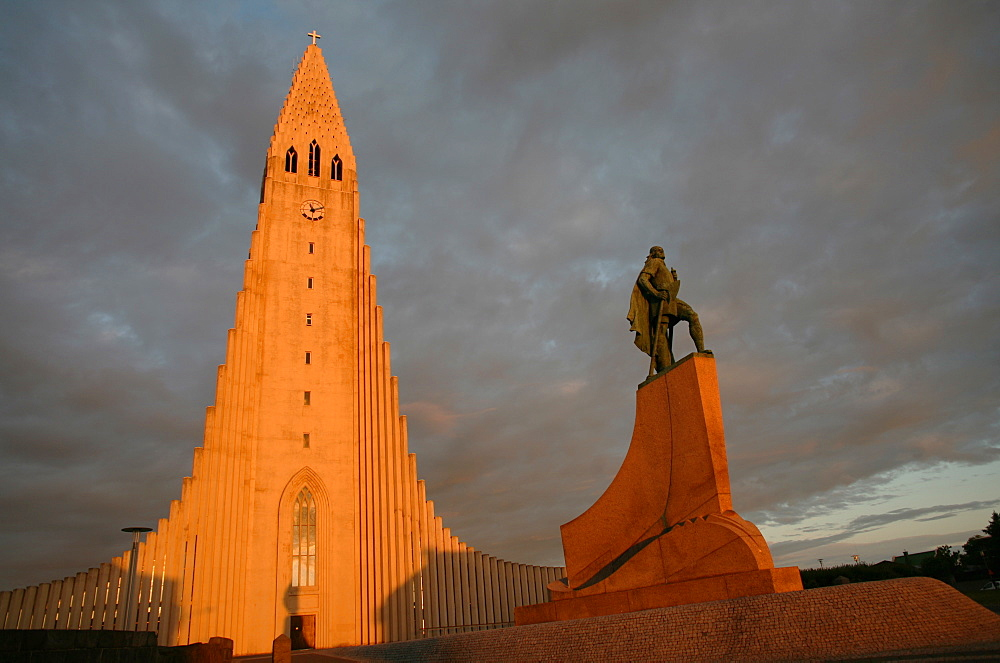 The cathedral of Domkirkjan, lit by the midnight sun, Reykjavik, Iceland, Polar Regions