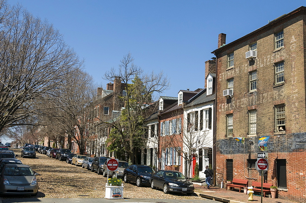 Prince Street also known as Captains Row in Old Town, Alexandria, Virginia, United States of America, North America