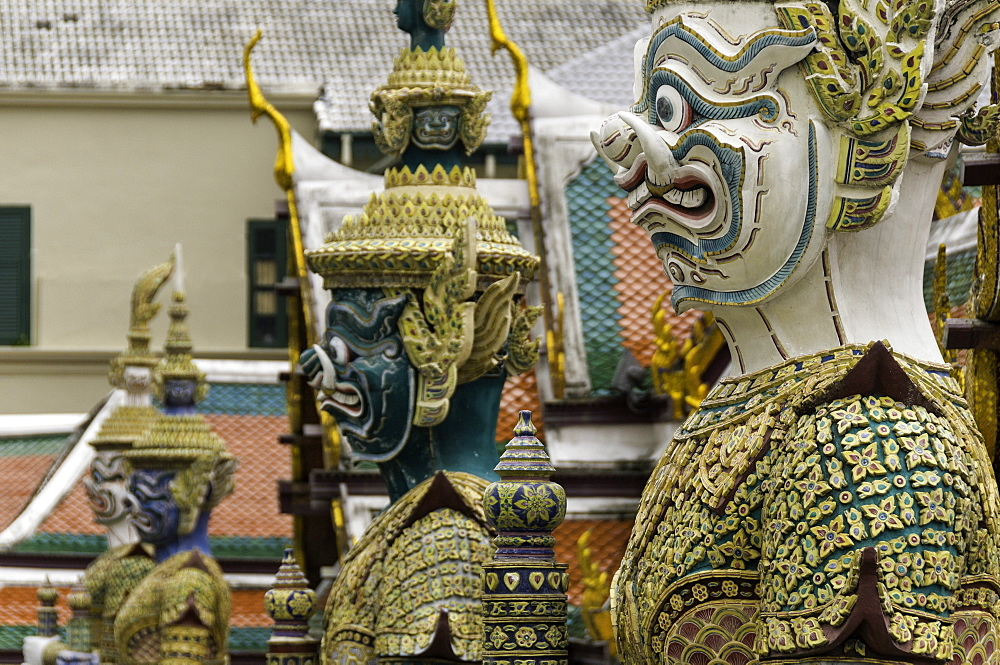 Statues at the Temple of the Emerald Buddha (Wat Phra Kaew), the Royal Palace, Bangkok, Thailand, Southeast Asia, Asia