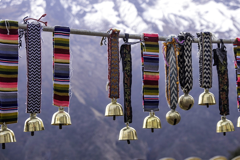 Yak bells on sale in a small market town in the Sagarmatha National Park, Nepal, Asia