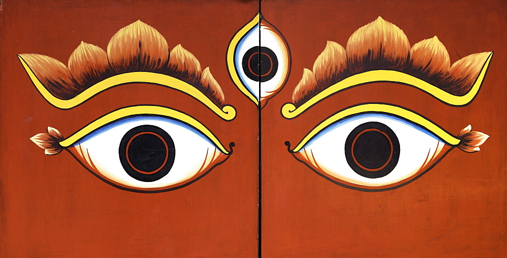 Buddha eyes painted on a door in Kathmandu, Nepal, Asia - 803-216