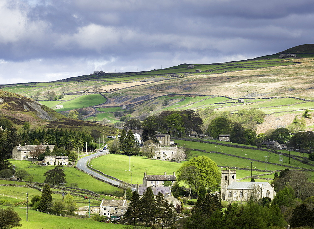 View of the village of Langthwaite in Arkengarthdale, Yorkshire, England, United Kingdom, Europe - 803-231