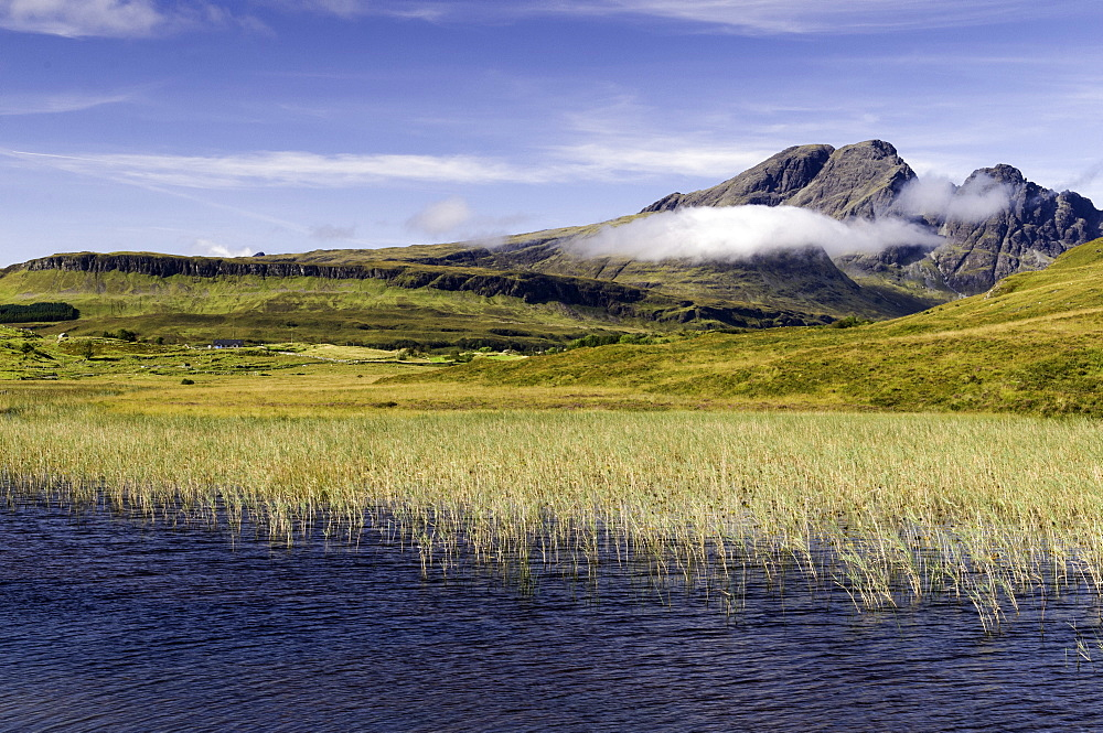 Loch Cill Chriosd near Broadford looking to Blaven and Red Cuillin on the Isle of Skye, Inner Hebrides, Scotland, United Kingdom, Europe - 803-239