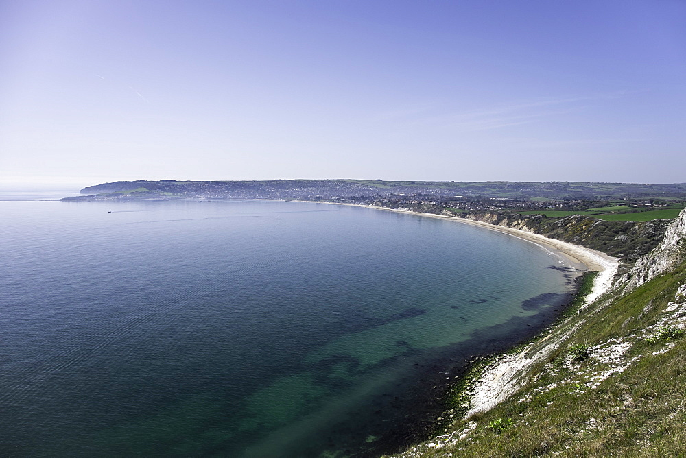 View of Swanage Bay from the coastal footpath in Dorset, England, United Kingdom, Europe - 803-244