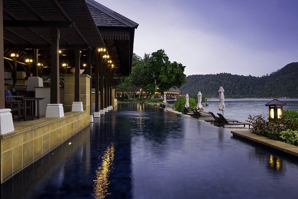 Swimming pool at the luxury resort and spa of Pangkor Laut, Malaysia, Southeast Asia, Asia