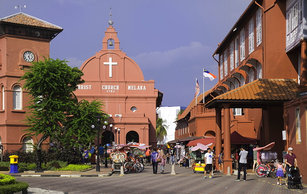 Christ Church in the town square, Melaka (Malacca), UNESCO World Heritage Site, Malaysia, Southeast Asia, Asia