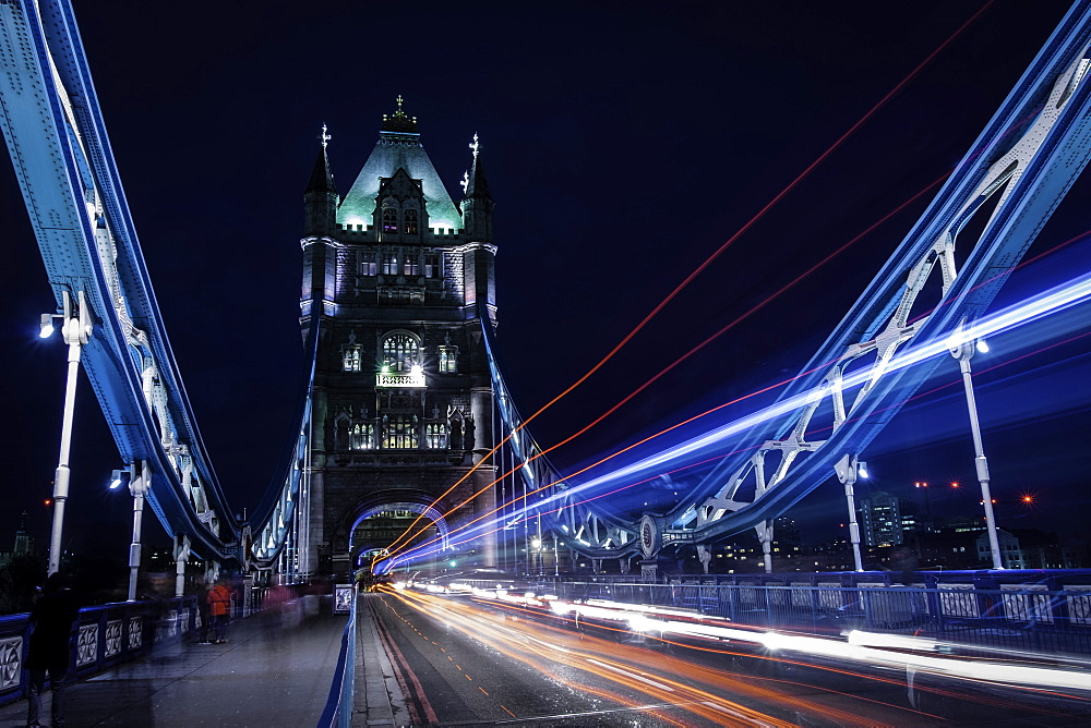 Light trails on London bridge in the evening, London, United Kingdom, Europe - 803-280