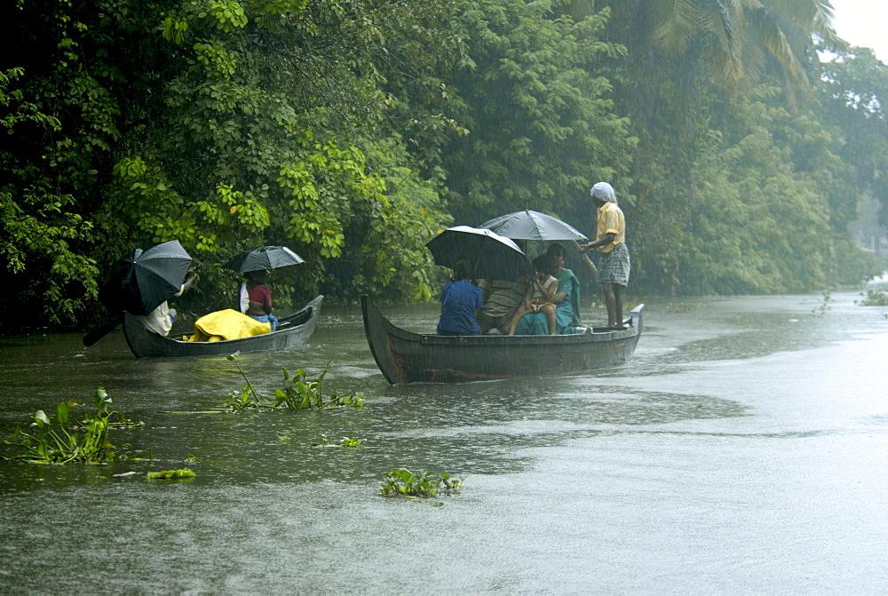 Life during the monsoon rains, Kerala, India