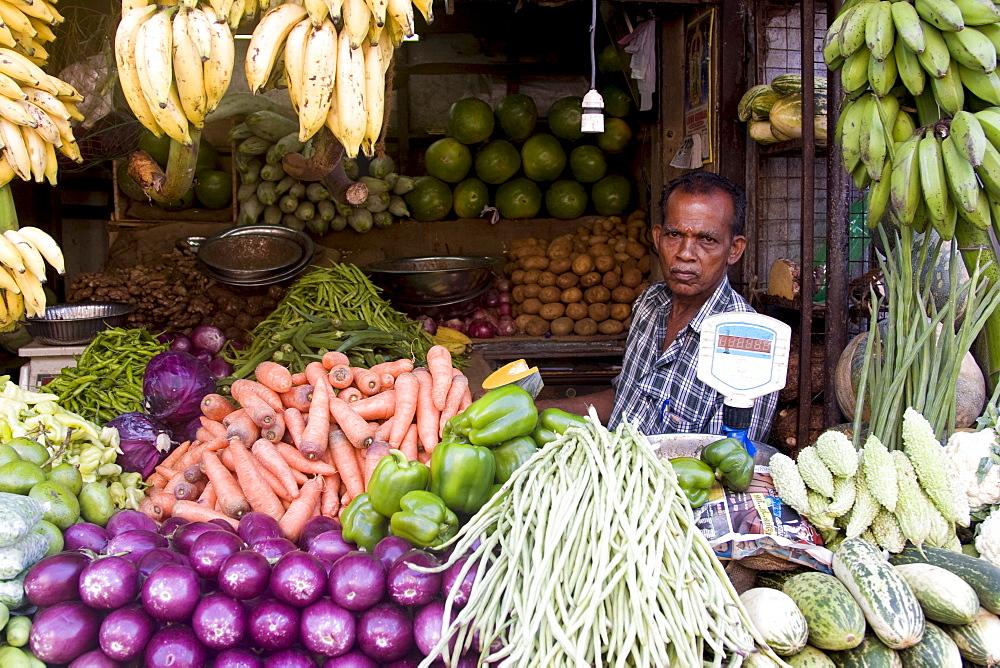 Vegetable market, Chalai, Trivandrum, Kerala, India, Asia - 804-269