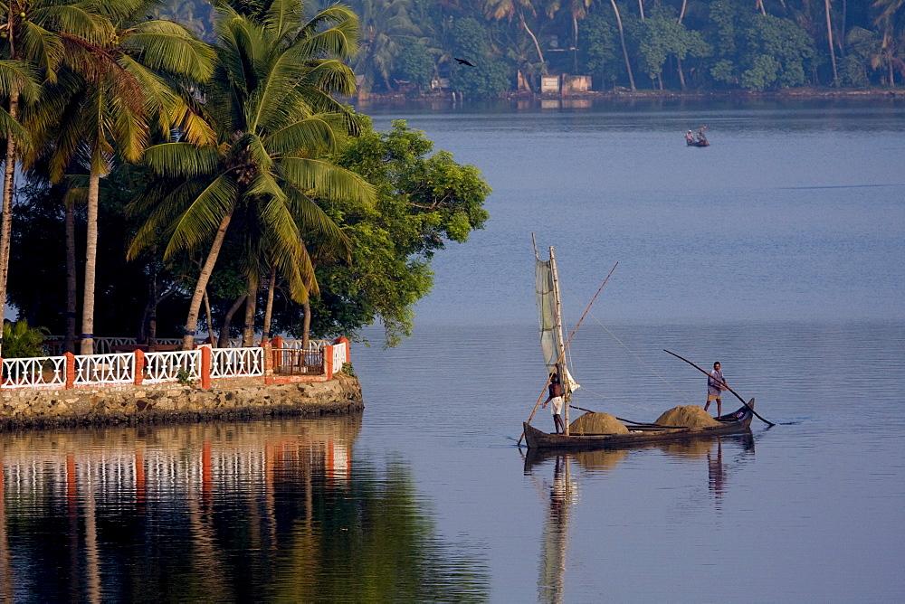Sand mining, Ashtamudi Lake, Kollam, Kerala, India, Asia - 804-301